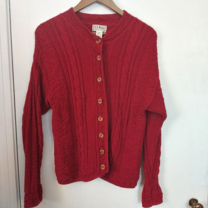 LL Bean Red Cable Knit Sweater Cardigan